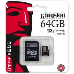 Kingston 64GB microSDHC UHS I Class 10 muistikortti SD adapteri